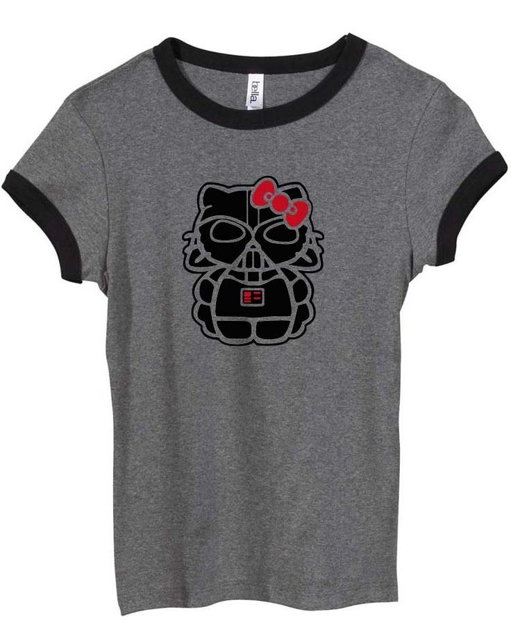 Darth Hello Kitty T-shirt.: Geek, Bounty Hunter, T Shirt, Shirts, Boba Fett, Stars, Star Wars, Force, Hello Kitty