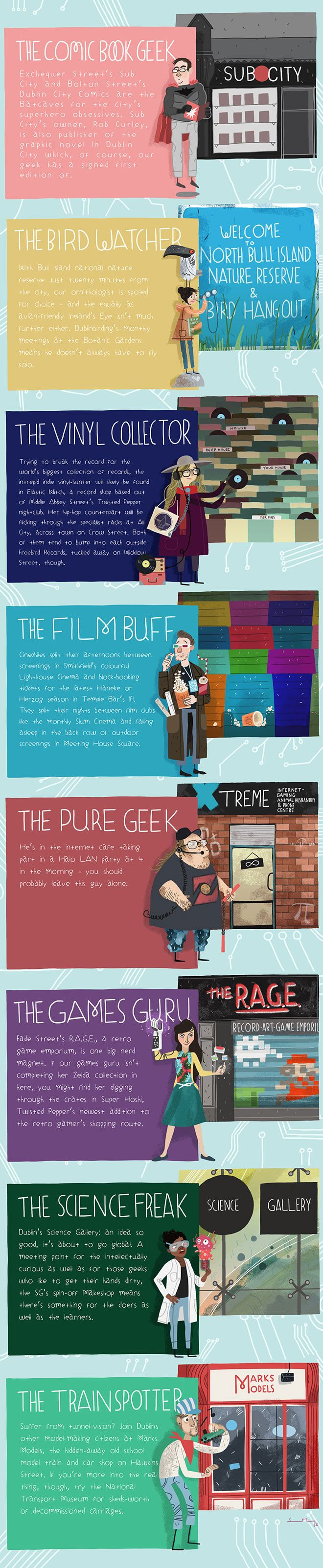 This illustrated guide to our city of specialists is the perfect guide for the 21st century trainspotter, the gamers and the makers, the music-lovers and the film die-hards! #nerds #geeks #lovedublin #comics #vinyl #film #science #SteveMcCarthy