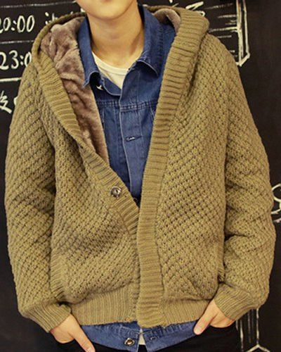 Slimming Trendy Hooded Checked Design Long Sleeve Thicken Cotton Blend Cardigan For Men