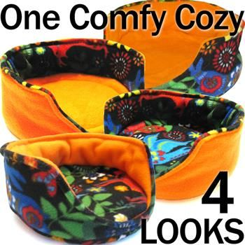 Comfy Cozies for Guinea Pigs - Our NEW and IMPROVED fleece Comfy Cozy is 100% reversible--the cozy itself and the removable potty pad! All washable of course. www.GuineaPigMarket.com/comfy-cozy