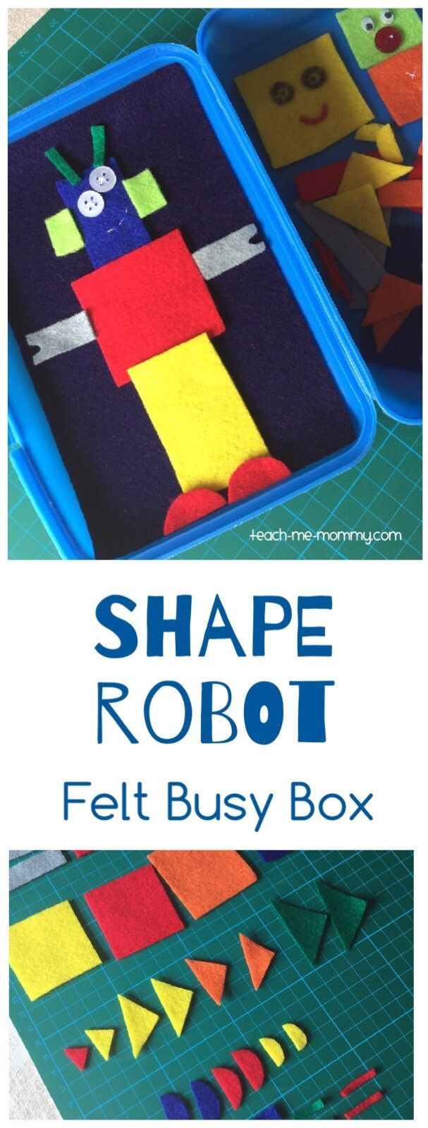 Shape Robot Felt Busy Box Make a fun shape robot busy box from felt and a lunch box to play on the go!