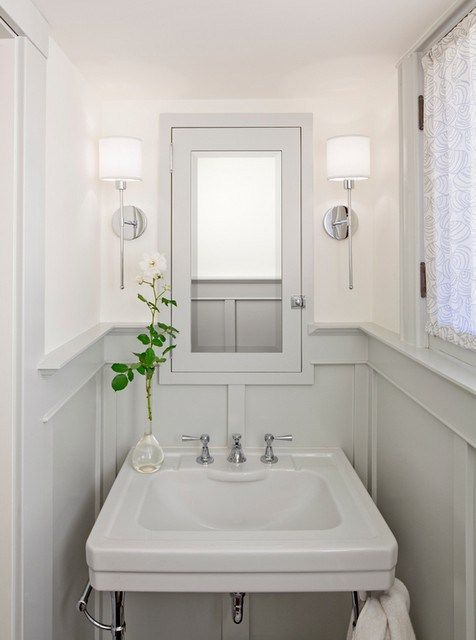 Sarah Richardson Cream Grey White Striped Bathroom