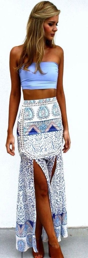 summer outfits bandeau boho print skirt