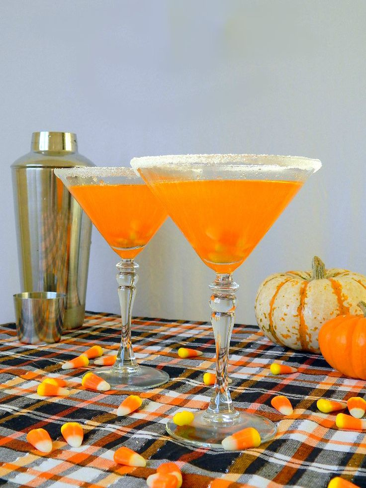 Candy Corn-infused vodka mixed with triple sec and lemon juice = Candy Corn Martini