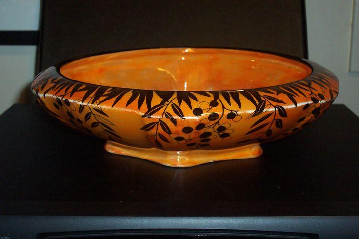 Deco Crown Ducal Ware ''Black Brazilian Red Pepper Tree'' lustre bowl ....250mm