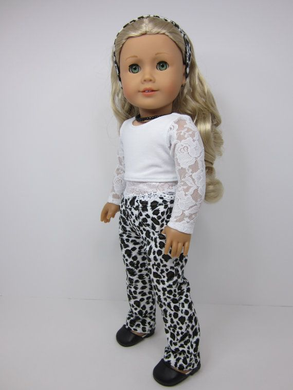 American girl doll clothes- Animal print cord pants with white crop top with lace sleeves and hemline by JazzyDollDuds.
