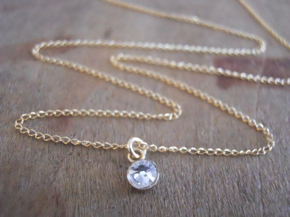 Swarovski Crystal Necklace; Dainty Gold Necklace; Layering Necklace; Diamond Solitaire Necklace; Gift For Her