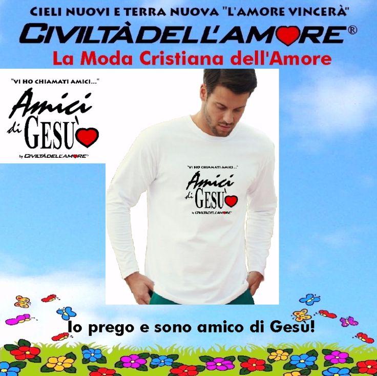 Gesù ci vuole suoi amici! divulgalo con questa t-shirt. Per questo modello segui la guida all'acquisto: http://www.civiltadellamore.net/guida-allacquisto/