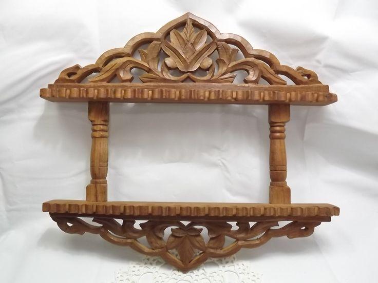 Vintage Rustic Fret Wood Hand Carved Wooden Spoon Holder