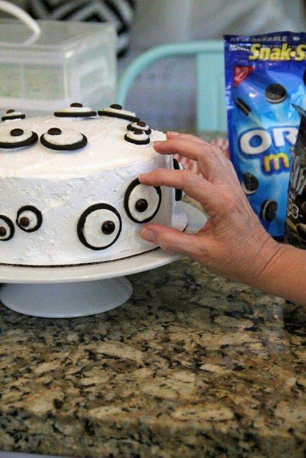 Eye ball cake with oreo's and m&m's