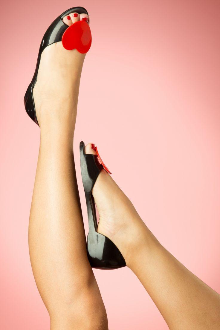 Mel Shoes - 60s Heart Fever Raspberry Peeptoe Ballerinas in Black and Red