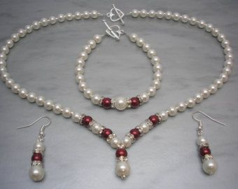 Gorgeous handmade necklace bracelet & earrings jewellery set Handmade to order using 8, 6 & 4 mm quality Ivory coloured glass Faux Pearls