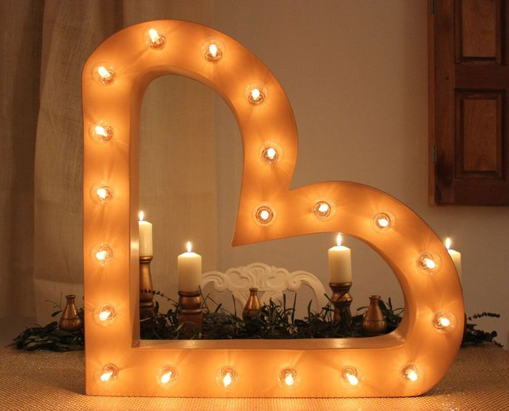Rent our gorgeous heart shaped marquee sign. 65cm x 65cm