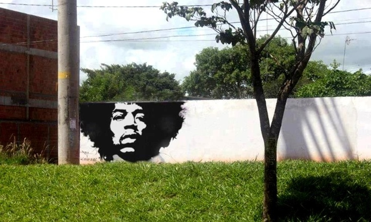 Hendrix tree street art Mr. Afroman