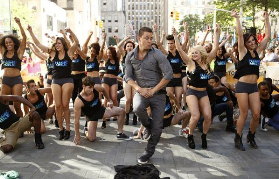 Channing Tatum and a Flash Mob dance in Rockefeller Plaza