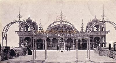 Archive photo of of Brighton's West Pier, showing the entrance to the theatre, the pier was built in 1866 by Eugenius Birch