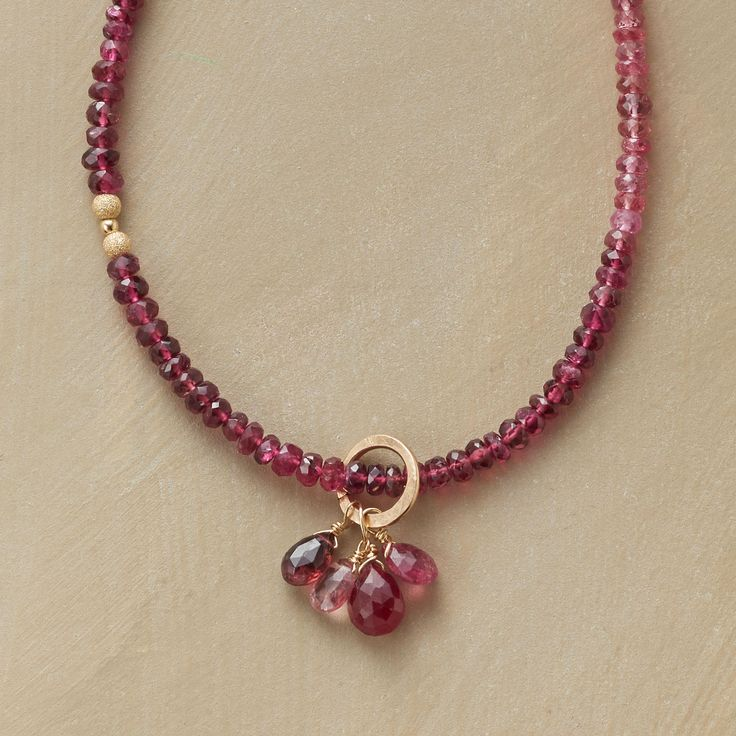REGALIA NECKLACE--Thoi Vo regales her necklace with rosiness, from violet garnets to rubies to pink tourmalines. Smooth and textured 14kt gold filled beads spark the strand