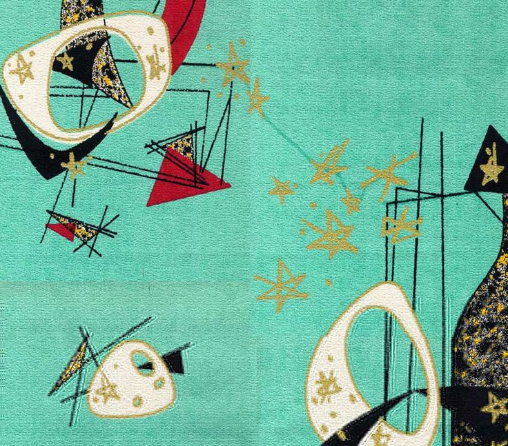 1950s modern barkcloth. Quite a distinct shade of turquois!