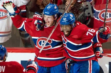 延長で決勝ゴールを決め、喜ぶカナディアンズのガルチェニュク(左)=モントリオール(AP=共同) ▼18Apr2015共同通信|NHL、カナディアンズ2連勝 プレーオフ1回戦 http://www.47news.jp/CN/201504/CN2015041801001532.html