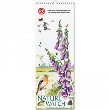 Nature Watch Slim Wall Calendar, 12 pages plus cover. White wire