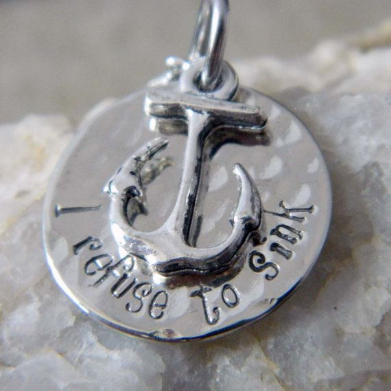 I Refuse to Sink Anchor Necklace by WireNWhimsy on Etsy, $25.00