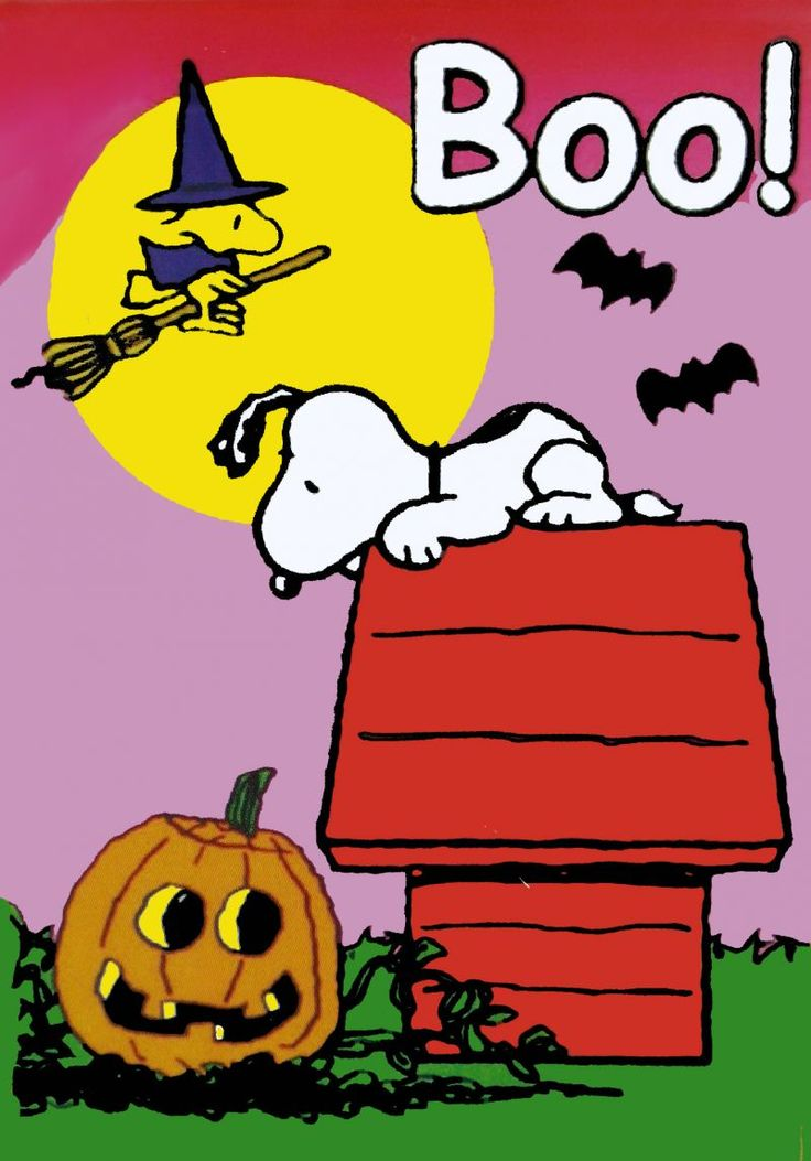 Boo - Snoopy on Doghouse Looking Down at Jack-o-Lantern With Woodstock Wearing Witch Costume and Riding a Broom on Halloween