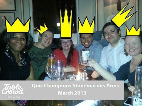 The social dining quiz team champions. Congratulations.