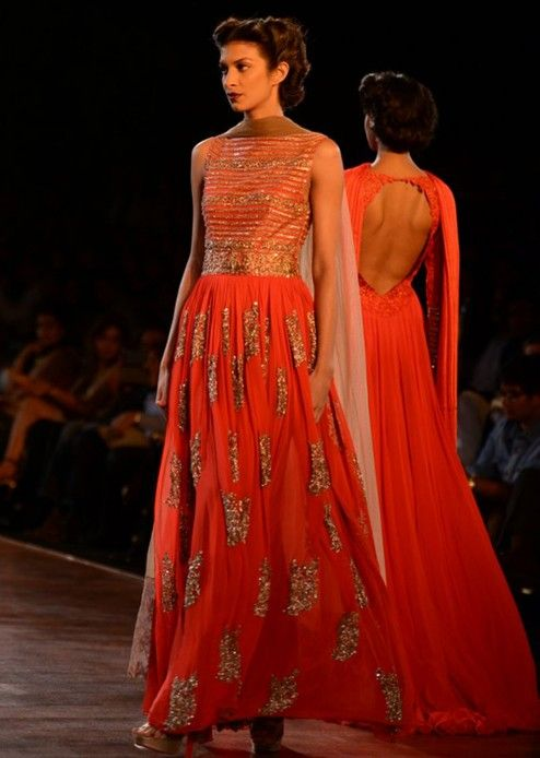 Red Golden Party Wear..Full length Anarkali...manish malhotra