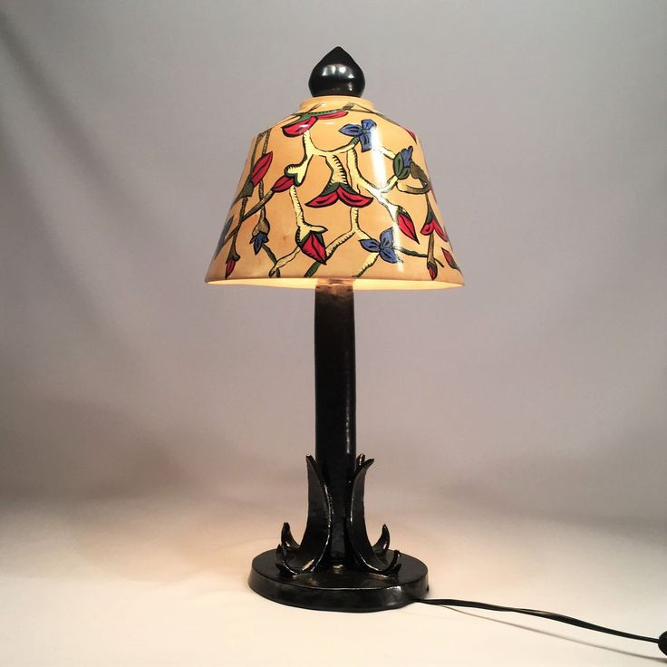 Table lamp Flower Power, wood, ceramics, copper by RussianStore on Etsy