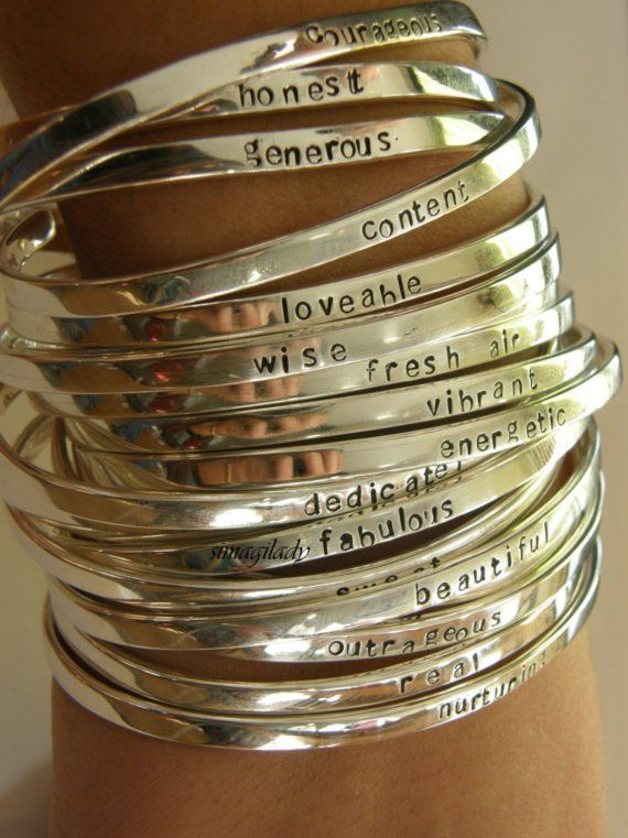 LOVE: Hands Stamps, Sterling Silver Cuffs, Gifts Ideas, Style, Silver Bracelets, Silver Bangles, Jewelry, Bangles Bracelets, Accessories