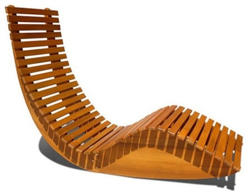 Natural Eucalyptus Wood Rocking Chaise Lounge Chair Modern