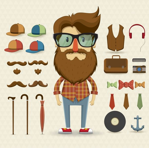 Character design set with elements and accessories by Kovacs Tamas, via Behance