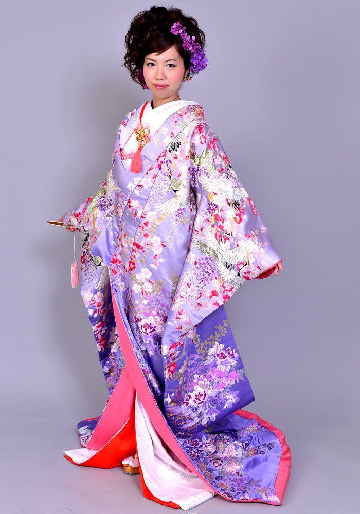 Beautiful Lavender Uchikake with Cranes, Sakura, and Wisteria Blossoms