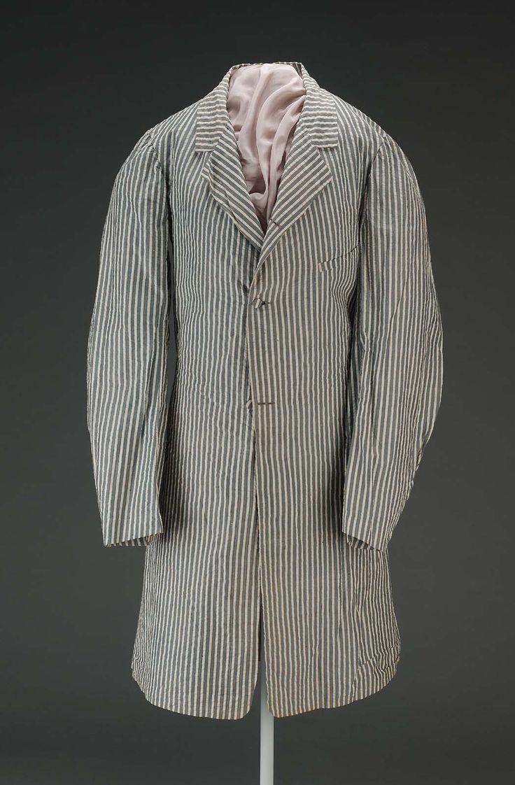 19th Century America Cotton Seersucker Coat 1800 1850