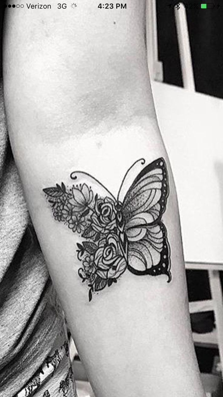 Flower butterfly tattoo
