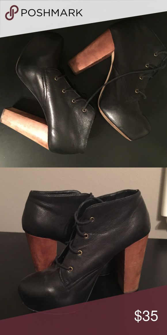 Steve Madden Black Boot Platform Heels Like new condition size 9.5 Steve Madden Shoes Heeled Boots