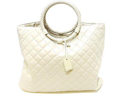 #love #sunset #HUGO BOSS ORANGE QUILTED WHITE LADIES BAG NEW TWO CARRY HANDLES ROUND MATERIAL: 100% POLYESTER,FAUX LEATHER SIZE APPROX: 33CM(L) X 36CM(H) X 2CM(W...