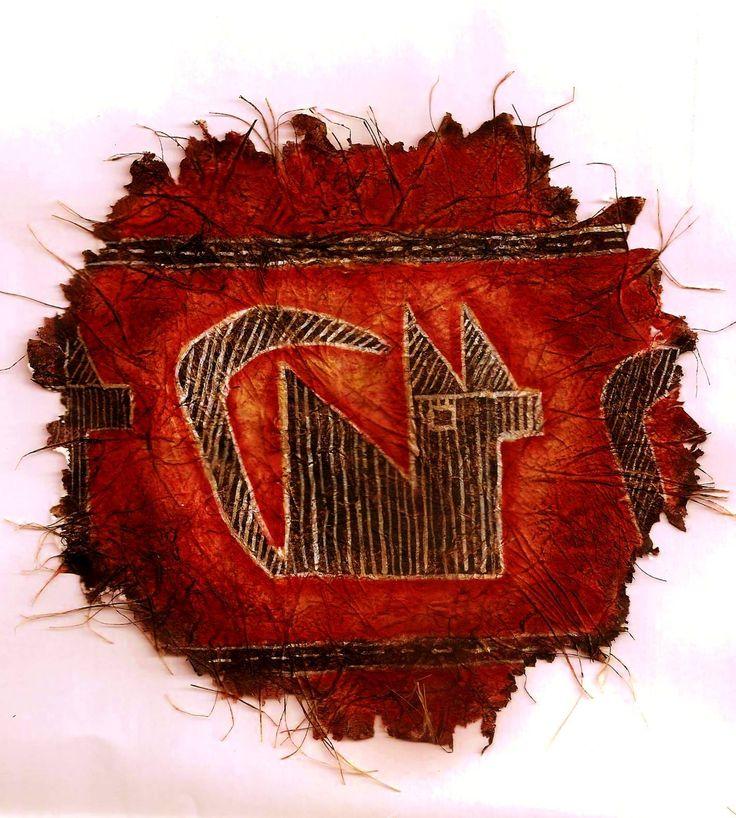 Cultura Ciénaga -Catamarca-ARGENTINA 0 a 600 d.C Representación de una llama- (Original: cerámica incisa) Sobre papel artesanal-