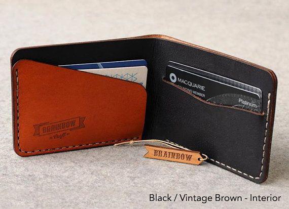 Bi-Fold Hand Stitched Slim Wallet by bRainbowshop on Etsy