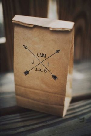 love this brown paper bag favor packaging idea /// camp inspired wedding ideas