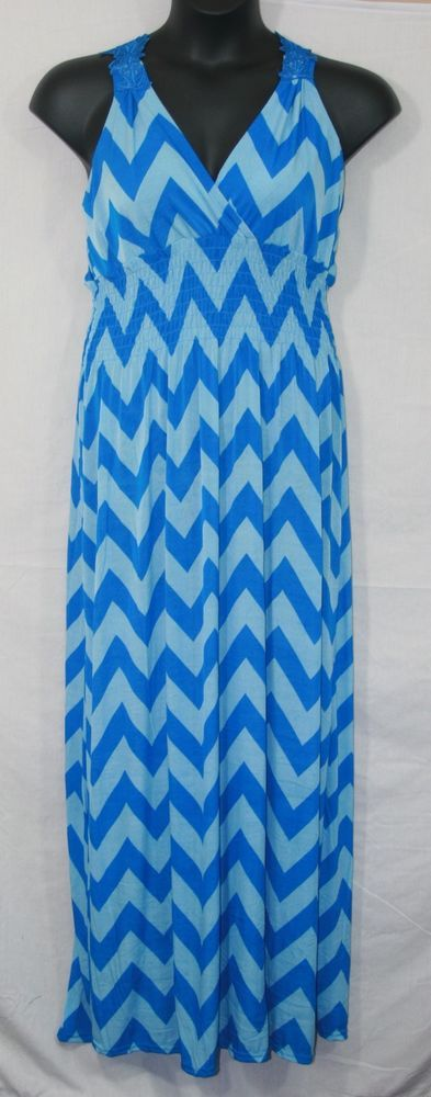 Julia Fashion Blue Chevron Maxi Dress Size 4XL Sleeveless Silk Blend Women's Fashion