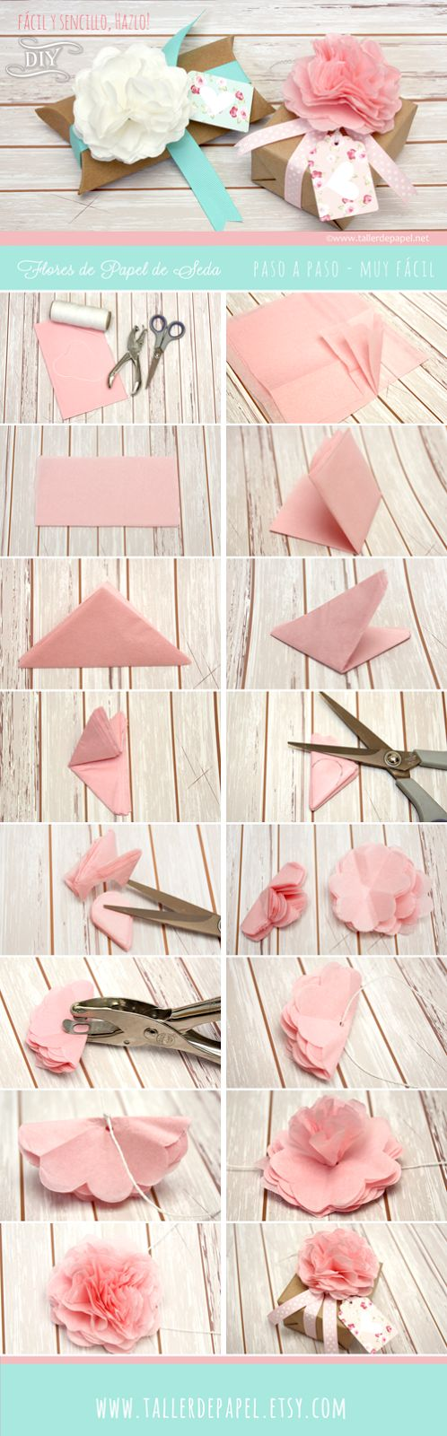 Tutorial para hacer de un empaque común, algo inolvidable. Sigue este tutorial y has esta hermosa flor para dar ese toque especial y único a un regalo muy especial! www.tallerdepapel.net