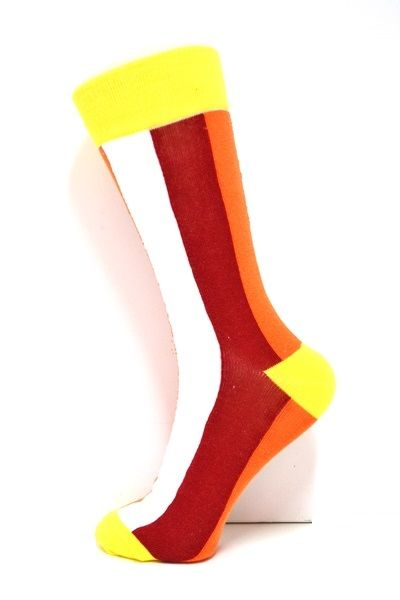 Mens Pattern socks. Vertical stripes in White, Red and Orange. Yellow top, heel and toe areas. #socksforafrica #thesockilove #sil