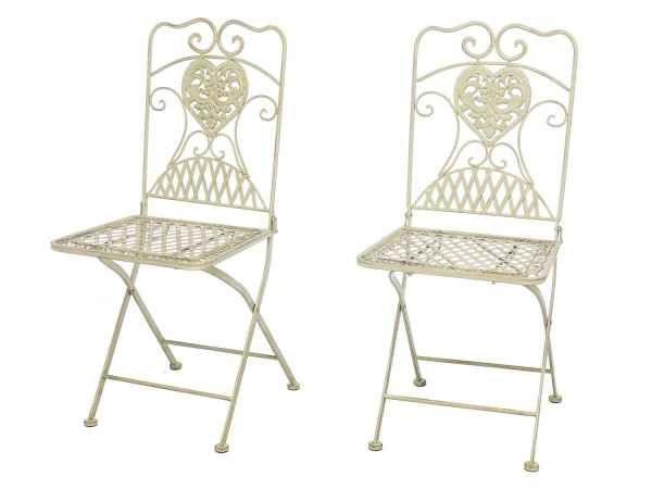 2x Gartenstuhl Stuhl Bistrostuhl Garten Eisen Antik Stil Creme Weiss Gartenstuhle Bistro Stuhle Stuhle