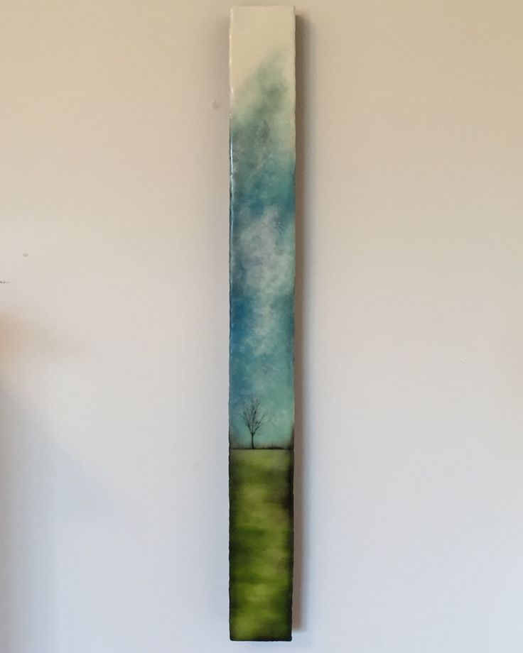"""Land , sky and Solitude"" 3x30"" encaustic artwork"