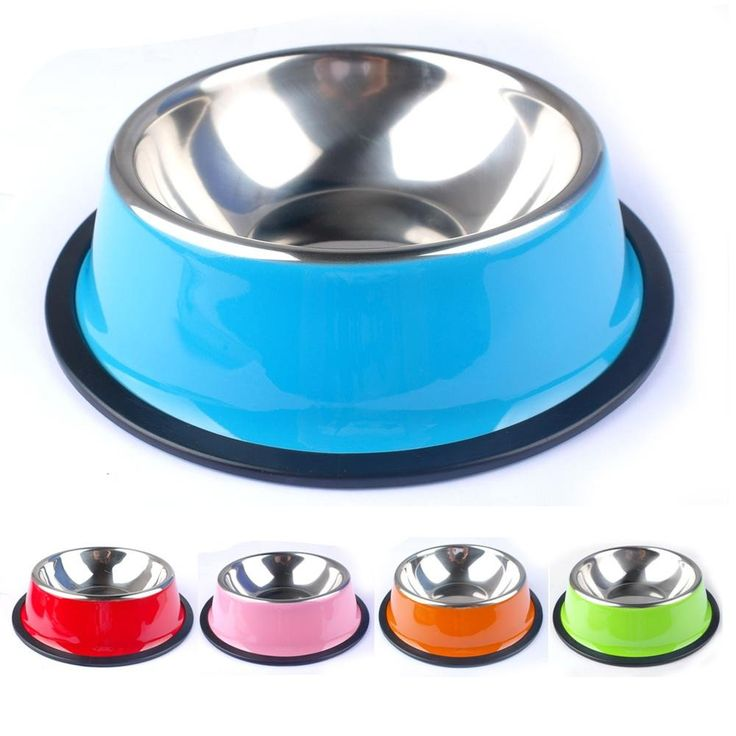 Colorful Stainless Steel Pet Bowls with Non Slip Rubber Base
