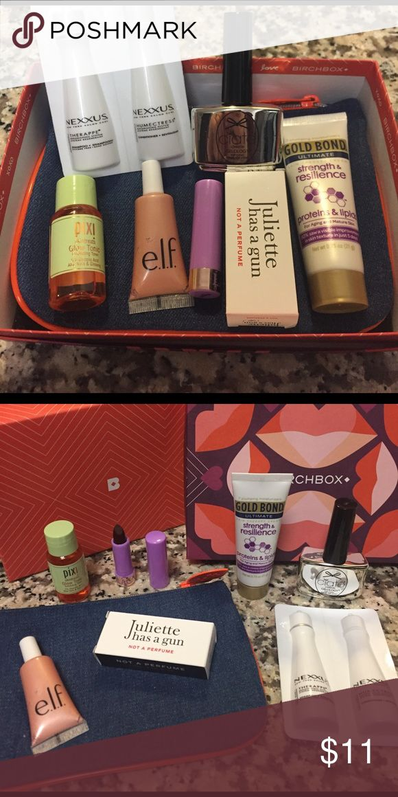 Ipsy/birch box Glow tonic, hand cream, perfume, highlighter, shampoo & conditioner, clear shine nail polish and Ipsy makeup bag in birch box. ipsy/birch Makeup