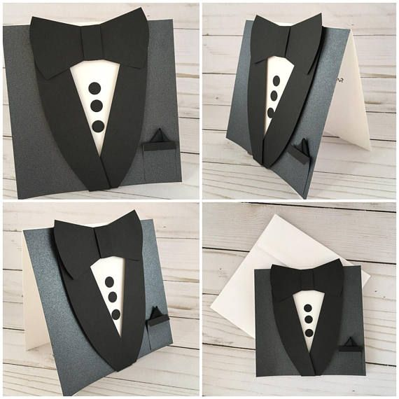 Best Man Invitation Card. Will you be my Groomsman. Tuxedo Bow tie Custom Wedding Best Man / Usher / Page Boy Thank you Card. Black Suit card with a bow tie This listing is for one (1) Blank PEARL Black Tuxedo Bow Tie Card with a pocket square Card measures 5 x 5 Card ships with square