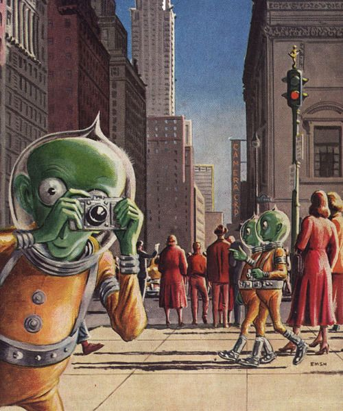 Out of Towners - detail from August 1952 Galaxy Science Fiction Magazine.