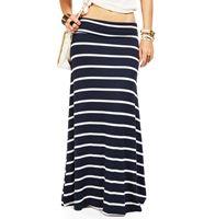Navy/White Striped Maxi Skirt